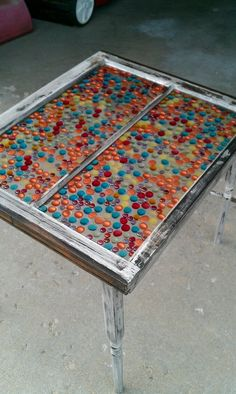 Another idea for the Stain Glass via Glass Gems. Make a table Stained Glass Mirror, Stained Glass Designs, Mosaic Glass, Fused Glass, Glass Art, Gem Crafts, Diy Crafts Hacks, Stone Crafts, Glass Table