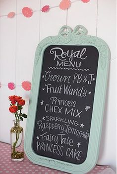 Princess Party Menu Board: Hunt down a mirror with a pretty frame (we got ours at Goodwill), then spray paint it any color that fits your theme. Paint over the mirrored area with a couple coats of chalkboard paint and voila— Tea Party Birthday, Third Birthday, 4th Birthday Parties, Birthday Ideas, Pink Princess Party, Disney Princess Birthday, Princess Sophia, Princess Theme, Royal Tea Parties