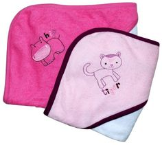 Awesome Frenchie Mini Couture Wild Animal Hooded Bath Towel Set, 2 Pack, Girl