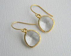 Crystal Clear Bridal Earrings  Czech Glass  Gold by DanaCastle, $21.00