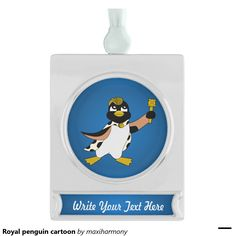 Royal penguin cartoon silver plated banner ornament