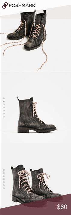 🆕 ZARA Black Leather Distressed Combat Boots Black leather. Lace up. Distressed effect look. Flat boots. Creme & burgundy cord laces. Booties. ZARA size 39 Zara Shoes Combat & Moto Boots