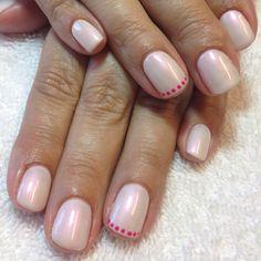 Shellac layered: Studio White w/ Moonlight & Roses. Polka dots in Tutti Frutti.