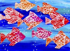 So many goldfish! Prints with styrofoam cartoon fish that are printed then cut and glued with pop up dots