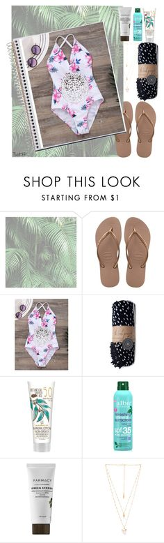 """""""we're not lovers, we're just strangers"""" by xconstancax ❤ liked on Polyvore featuring Havaianas, The Beach People, Alba Botanica and Natalie B"""