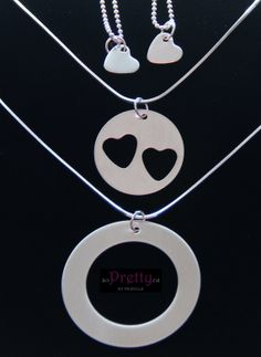 Grandma Mother Daughter Necklace Set- Heart Cut Out-Carry your heart by PrettyByPriscilla on Etsy