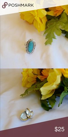 ❤️NEW❤️ Turquoise Ring Vintage | turquoise ring | silver | adjustable Jewelry Rings