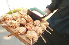 Coconut chicken skewers with a sweet chili dipping sauce. Ravishing Radish Catering | Amanda Lloyd Photography