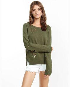 distressed long sleeve side zip sweater