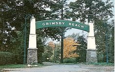 Gates marking the entrance to Grimsby Beach, 1939.