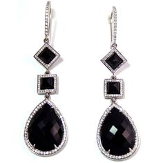 14K White Gold, Black Onyx, and Diamond Earrings  Faceted pear-shaped black onyx dangles from these exquisite earrings, set in highly polished 14K white gold. Dripping in diamonds (238 to be exact), any woman who wears this earring will feel the utmost sense of luxury.