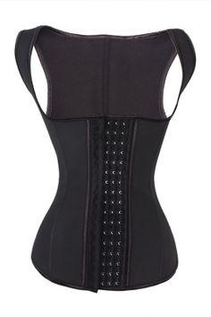 a4f3c6a1bb Comfortable Black Hooks Closure Waist Cincher Vest Latex Fabric