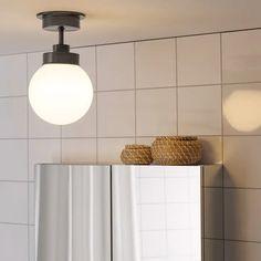 FRIHULT Ceiling lamp, black - IKEA Ikea Bathroom Lighting, Bathroom Ceiling Light, Flush Ceiling Lights, Ceiling Light Fixtures, Ceiling Lamps, Black Bathroom Light Fixtures, Ikea Lighting, House Lighting, Ceiling Fan