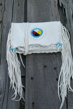 White buckskin leather clutch , four direction bead work , fringed white clutch , Native ceremonial leather bag