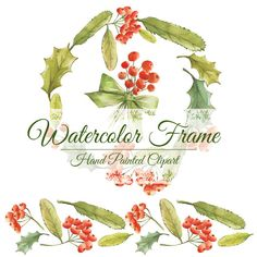 I love DottyCreative's watercolor clipart! Christmas wreath, christmas frame, watercolor clipart, clipart hand painted, hand painted wreath, hand painted frame