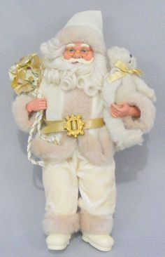 "Santa Claus Shelf Setter Doll Winter White/Tan 16"" Christmas Decoration #Unknown"