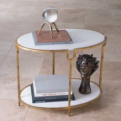 Global Views 9.91787 Iron and Stone Side Table Gold Furniture Tables End Tables