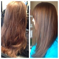 Before and after of a conditioning demi. Hair by Jayma