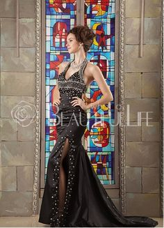 $265.49 Setlla Luxurious Satin Sheath/Column Sweep Train Halter Brilliant Beading #Evening #Dress
