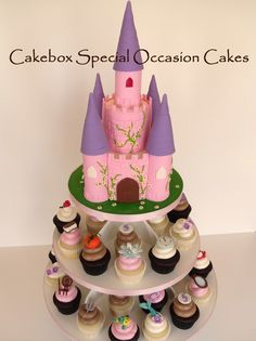 Princess castle cake with themed cupcakes for each of five different princesses.