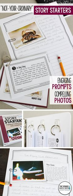 You haven't seen story starters like these before! 10 compelling photos paired with carefully crafted writing prompts to engage even your most reluctant writers. Each photo includes four unique prompts, with a variety of writing forms. Gr. 3-5 ($) Or get the Full Year bundle here: https://www.teacherspayteachers.com/Product/Story-Starters-Full-Year-BUNDLE-Not-Your-Ordinary-Writing-Prompts-2216139