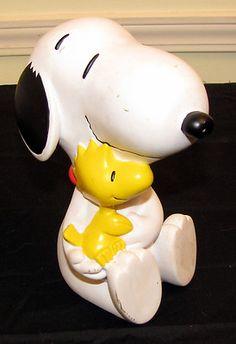 Woodstock & Snoopy Peanuts Collectable PVC Plastic Piggy Bank Good Condition  $8.99 http://www.ebay.com/itm/270956345710?ssPageName=STRK:MESELX:IT&_trksid=p3984.m1555.l2649