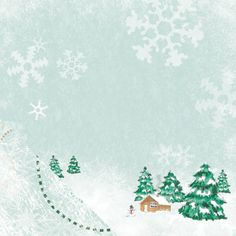 A little house in a valley with with trees covered in snow. perfect for any #snow/ #winter theme #scrapbook