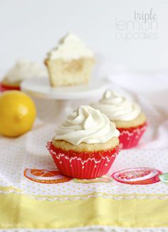 CRAZY Delicious Triple Lemon Cupcakes. Lemon curd and buttercream are a match made in heaven!! Vanilla cupcakes topped with lemon buttercream and filled with lemon curd #easy #cupcakerecipes http://thecupcakedailyblog.com/triple-lemon-cupcakes/