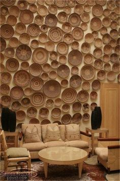 Wall of baskets in the Saxon Hotel, Johannesburg Restaurant Interior Design, Interior Design Living Room, Cafe Design, House Design, African Interior Design, Modern Baskets, Espace Design, Basket Decoration, Ceiling Design