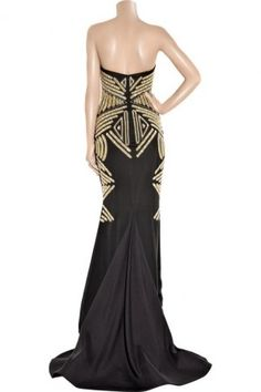 Gold and Black Art Deco Marchesa evening gown.  Possible Mothers Dress?