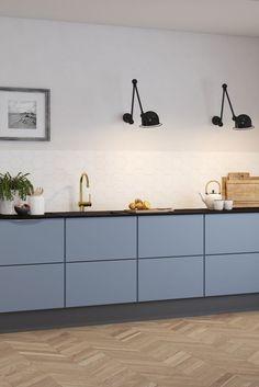 Love this beautiful cabinet door color? Get the look by ordering FENIX NTM Casto… - Luxury Kitchen Remodel Nordic Kitchen, Scandinavian Kitchen, Home Decor Kitchen, Kitchen Furniture, New Kitchen, Interior Design Living Room, Home Kitchens, Kitchen Dining, Kitchen Ideas