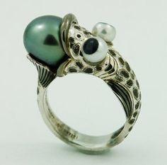 Silverfish ring  by  metalandstoneelite