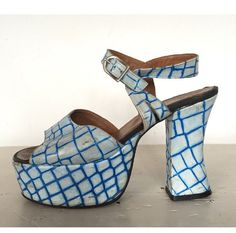 57692e0bf2e2 Vintage 60s 70s Psychedelic Platform Sandals Open by SuckMustard Slingback  Shoes