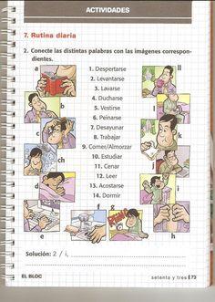 #Rutina diaria: Actividades: Conecte las distintas palabras con las imágenes correspondientes.                                                                                                                                                                                 Más