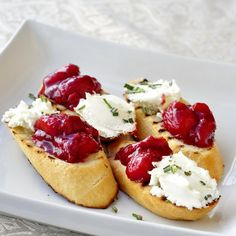 Strawberry Balsamic Chutney and Goat Cheese Bruschetta - the perfect hors d'ouevre to serve at your Canads Day BBQ.