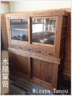 【送料無料】受注販売:飛騨の木工職人が製作した水屋箪笥