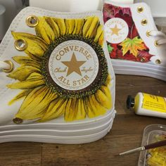I Painted Beautiful Scenes From The Natural World On A Pair Of Converse Source by ideas painted Diy Converse, Painted Converse, Painted Sneakers, Painted Jeans, Painted Clothes, Custom Painted Shoes, Hand Painted Shoes, Custom Shoes, Custom Converse Shoes