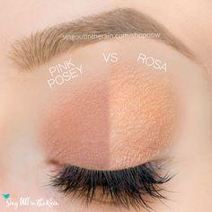 Rosa and Pink Posey ShadowSense side by side comparison.  These long-lasting SeneGence eyeshadows help create envious eye looks.  #eyeshadow #shadowsense