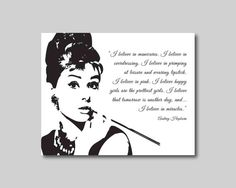 Wall Art - Audrey Hepburn - I believe in miracles, I believe in pink -  Typography - Room decor - 8 x 10 print on your choice of background