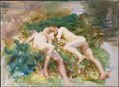 Tommies Bathing, Artist: John Singer Sargent (American, Florence 1856–1925 London) Date: 1918 Medium: Watercolor and graphite on white wove paper.