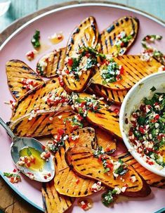 Griddled Sweet Potatoes With Mint, Chili, And Smoke Garlic