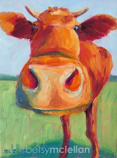 Cow Original Painting by betsymclellanstudio on Etsy