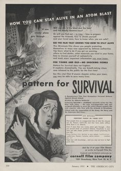 1951 Atom Bomb Cornell Film Trade Ad Mother Baby Survival Movie. I wonder if they told her to get under her desk with that baby. That where all of us were during elementary school.