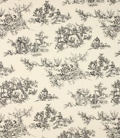 A traditional toile de jouy fabric available in a wide range of colours. Made from 100% cotton. This fabric is suitable for blinds, curtains and cushions. A coordinating stripe fabric is also available.Our online store and shops in Burford and Cheltenham have huge stocks of discount curtain and upholstery fabrics.