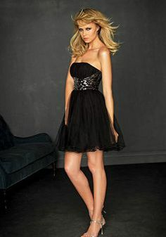 Special Tulle Strapless Short Natural Waist Evening Party Gown - Lunadress.co.uk