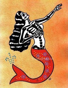 LA SIRENA Day of the Dead Art Mermaid Loteria Print