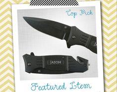 1 ENGRAVED Pocket Knife Black Rescue Hunting Folding Knife PERSONALIZED Knife - Groomsman Gifts, Groomsmen Gift, Custom Knife on Etsy, $19.95