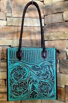 Turquoise Totes: Tooled leather bag by Appaloosa Trading:
