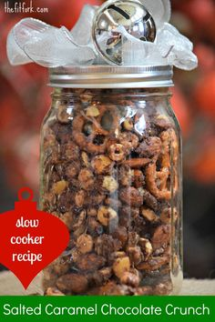 Slow Cooker Salted Caramel Chocolate Crunch - makes a great Christmas gift this holiday season. Jar food! TheFitFork.com
