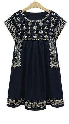 Navy Rosetta Dress - Cissie